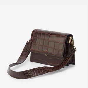 Jw pei mini flap croc brown bag